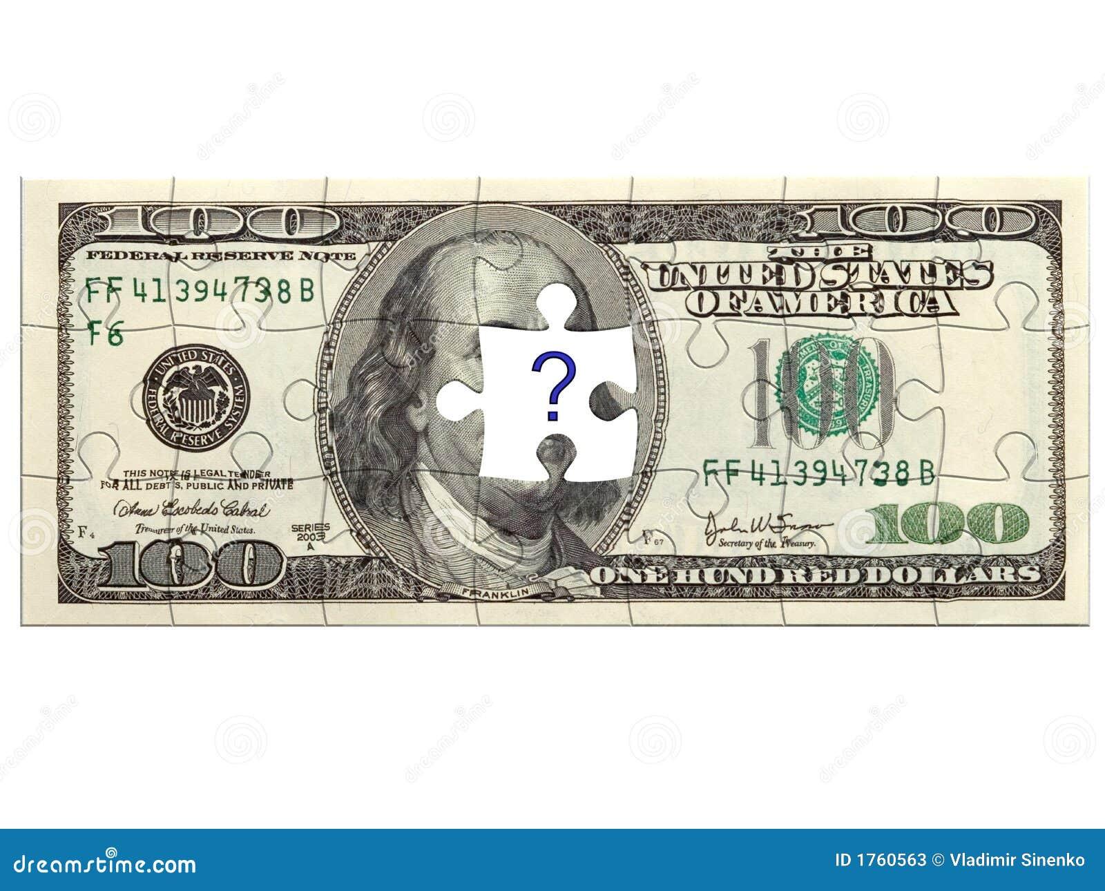 Puzzle du dollar avec le point d interrogation