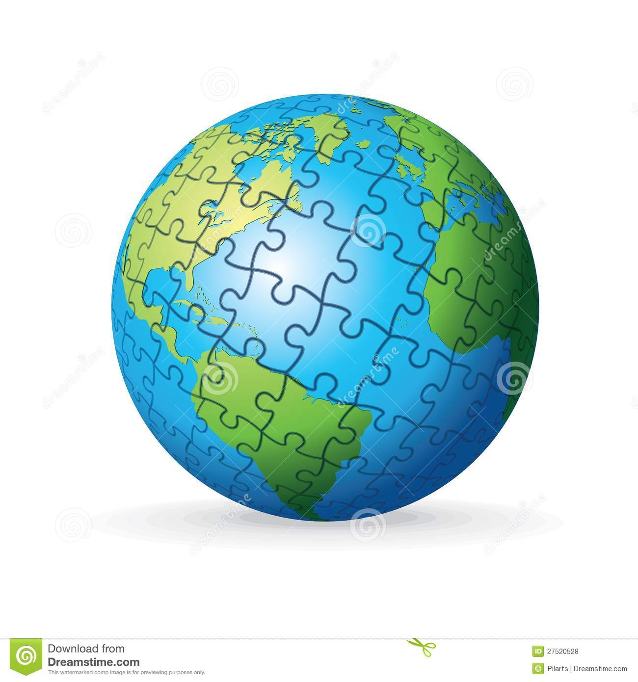 puzzle earth globe stock vector  illustration of spin