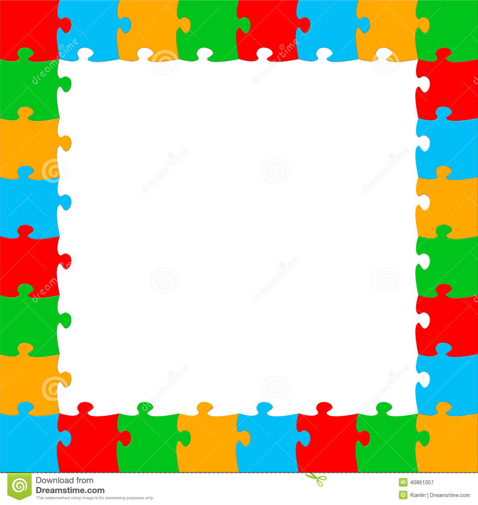 Puzzle Piece Picture Frame Template Bunte Puzzleteile