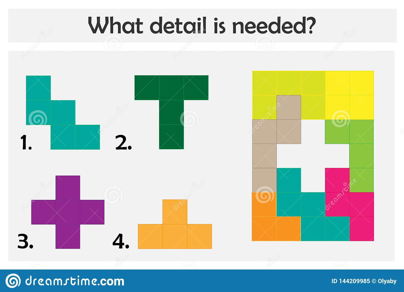 Puzzle game with colorful details for children, choose needed detail, easy level, education game for kids, preschool worksheet