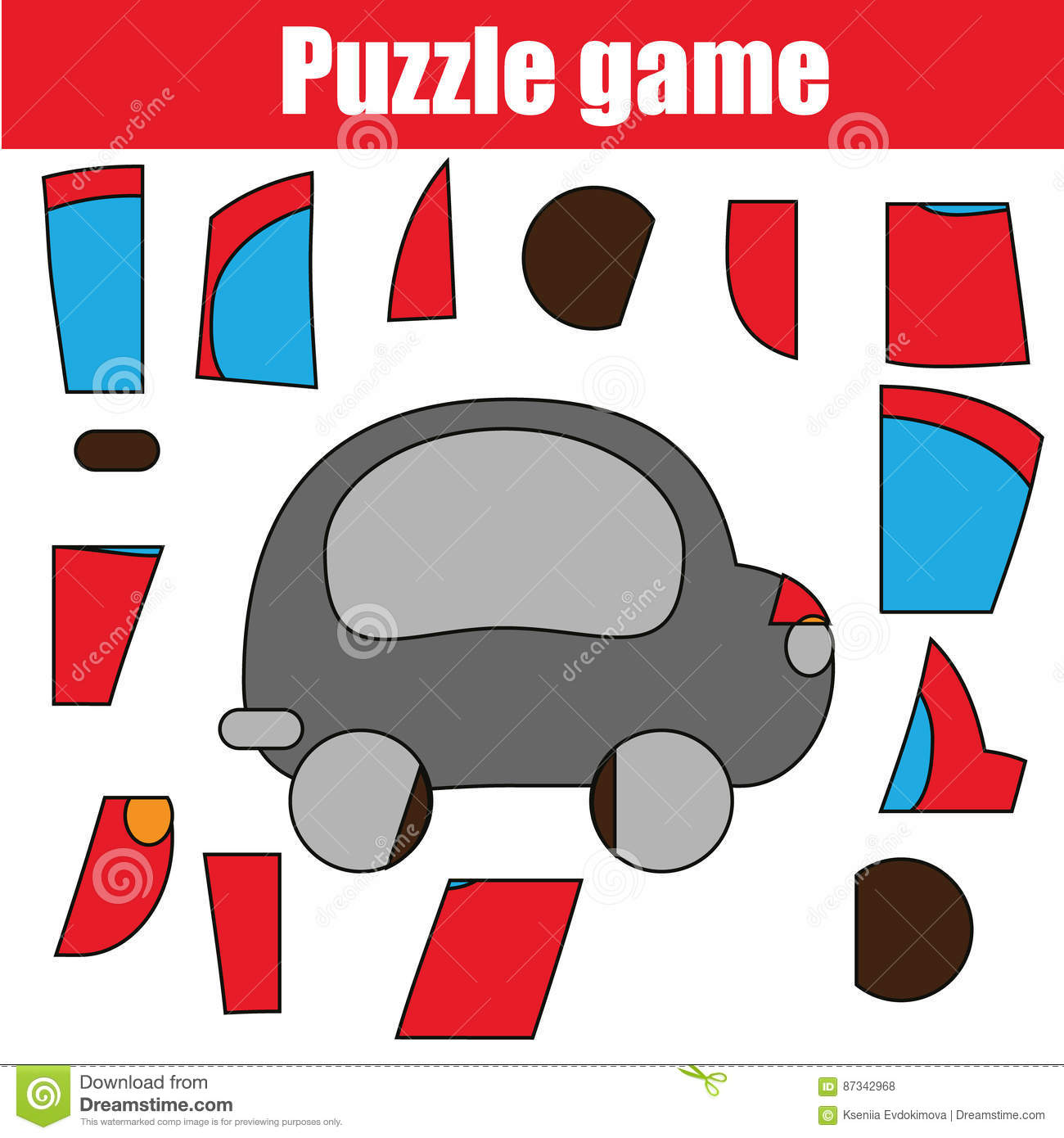 picture relating to Printable Puzzles for Kids referred to as Puzzle Activity With Crimson Vehicle. Printable Small children Video game Sheet