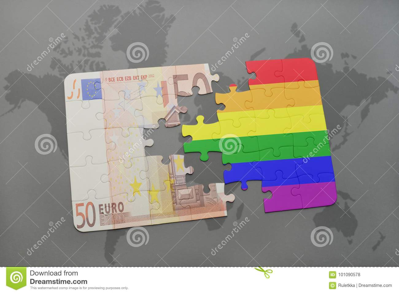 puzzle with the gay rainbow flag and euro banknote on a world map