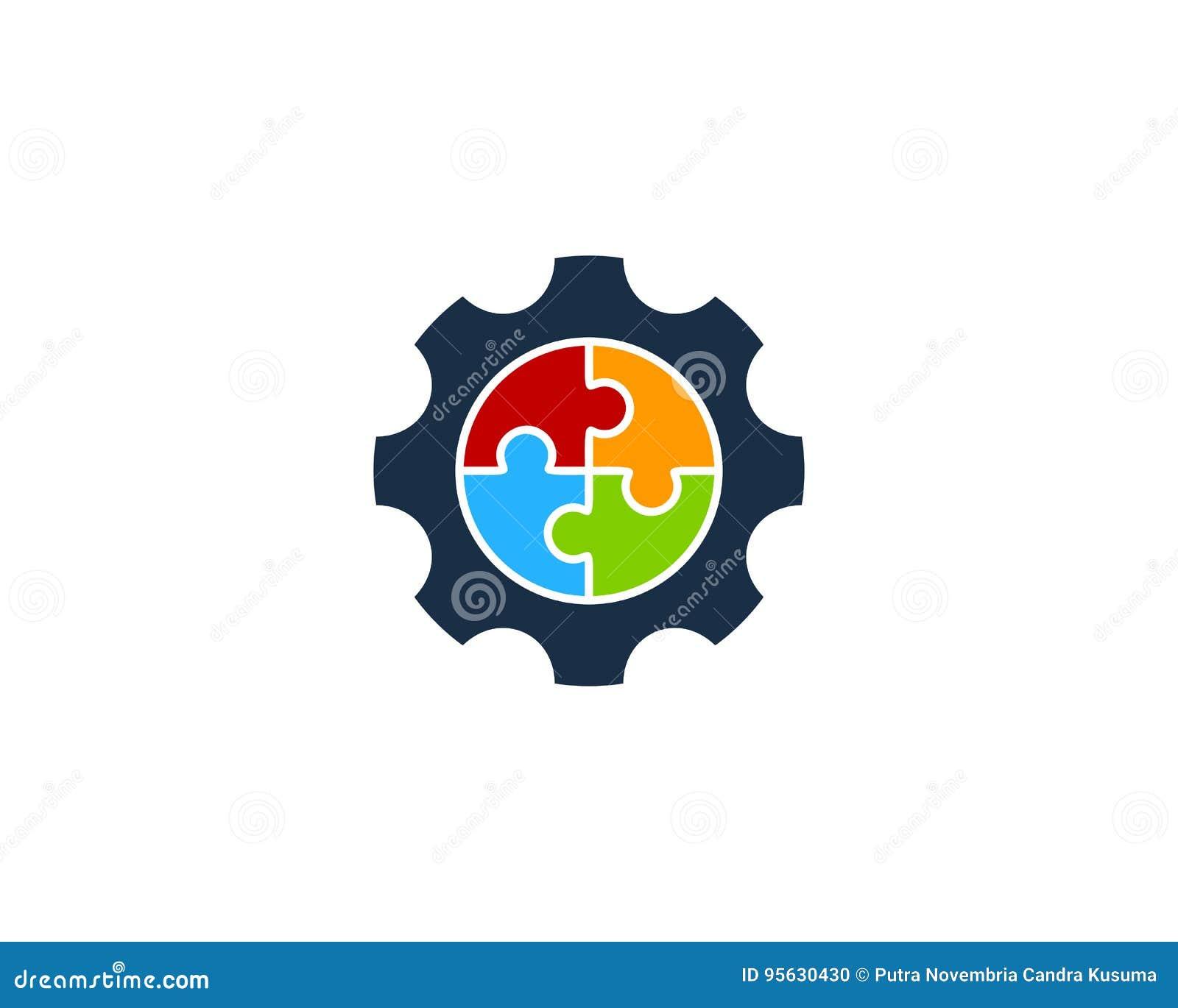 Puzzle Gear Icon Logo Design Element