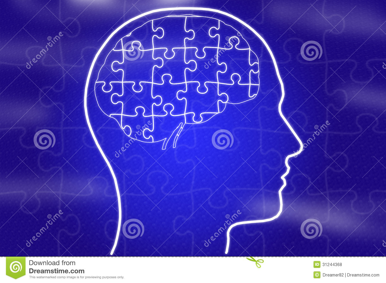 puzzle in head on blue background stock illustration illustration