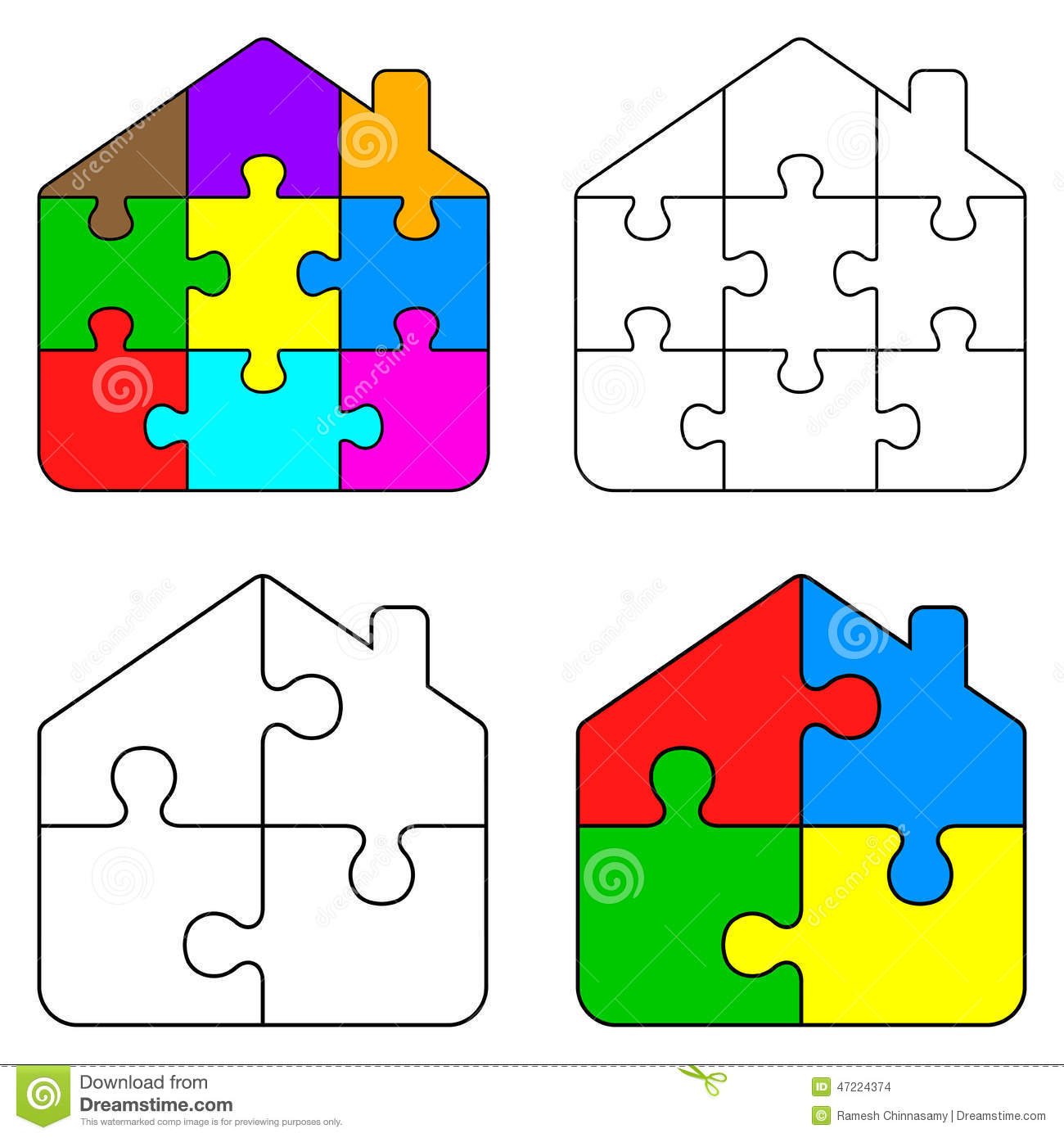 Puzzle Home Stock Vector Image Of Blue Element Care