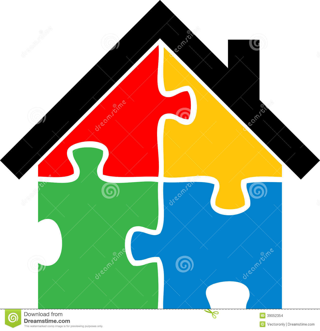 Puzzle Home Stock Vector Image 39052354