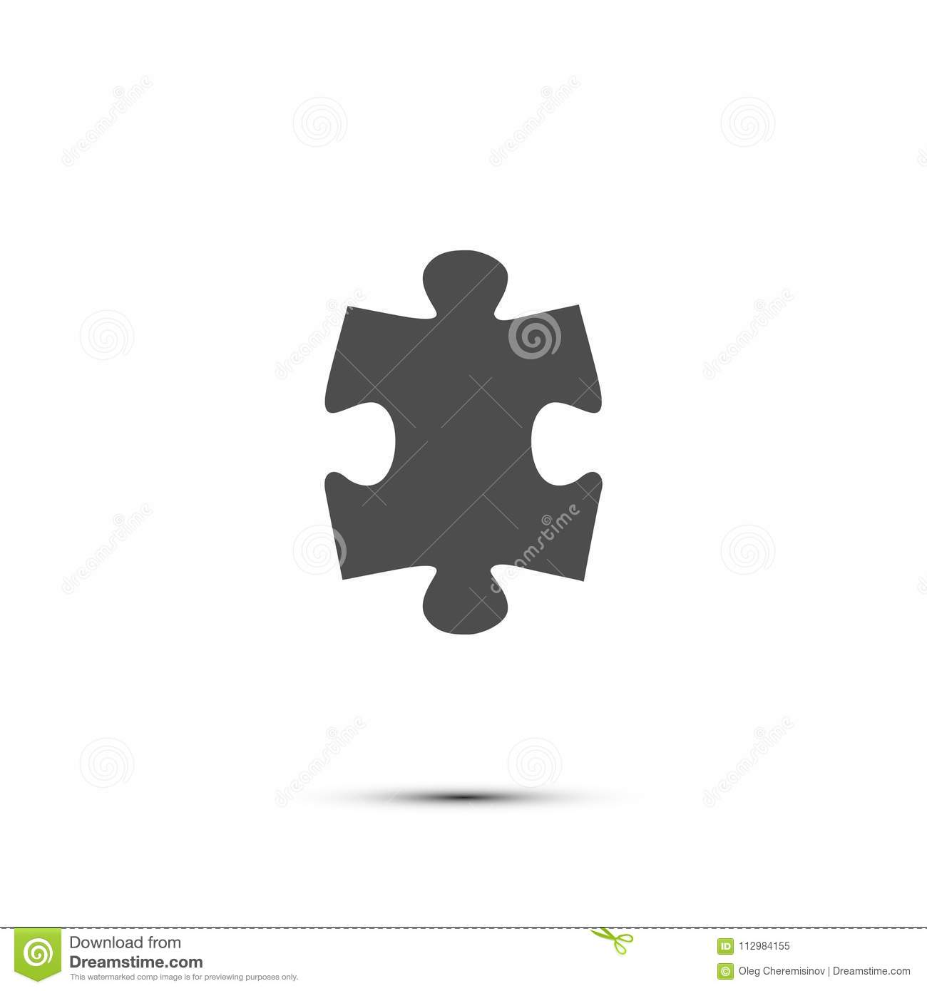 Puzzle icon. Vector gray puzzle piece isolated on white background.