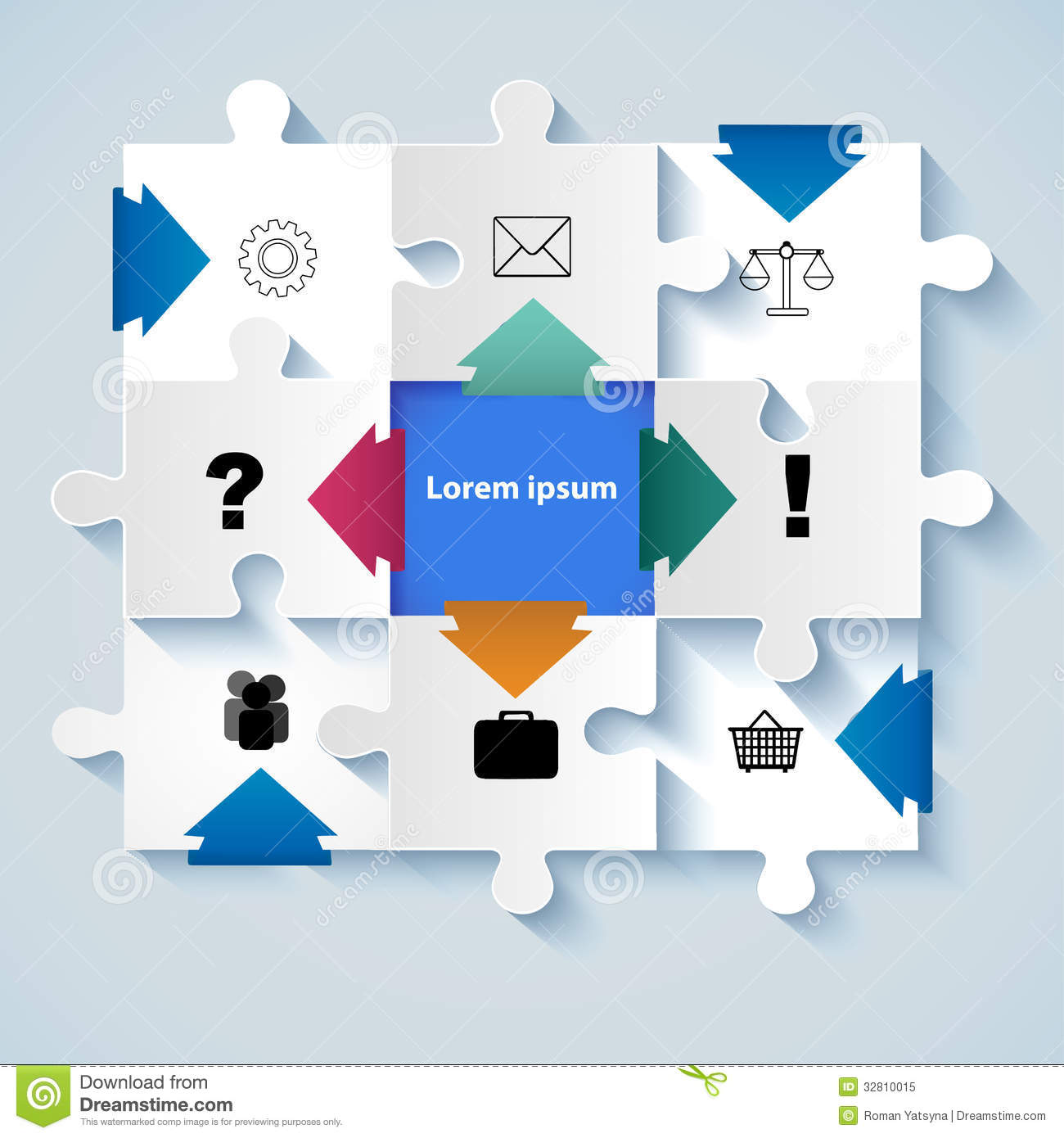 Puzzle With Icons For Business Concepts Royalty Free Stock