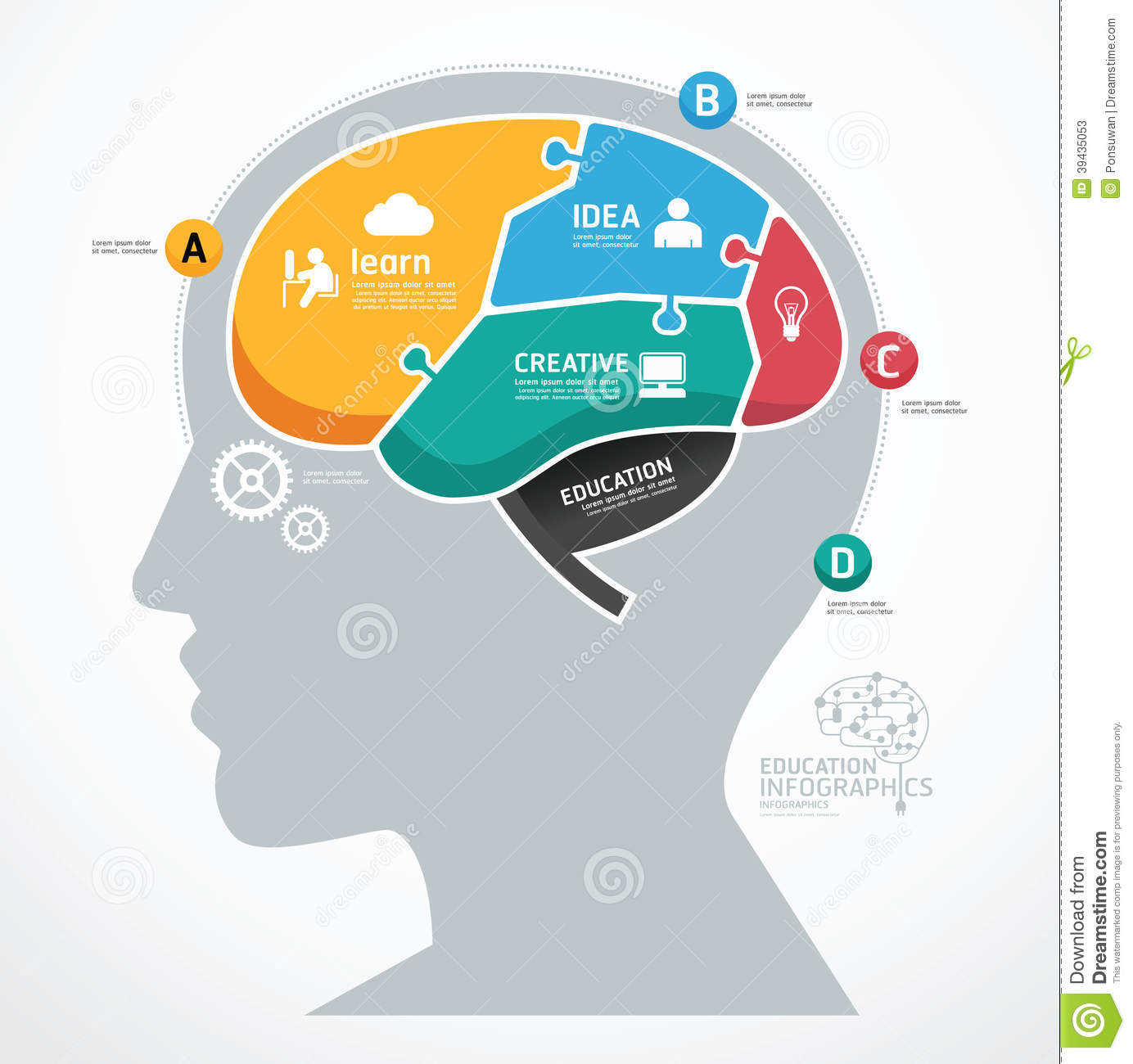 Puzzle Jigsaw Abstract Human Brain Infographic Template. Concept Stock ...