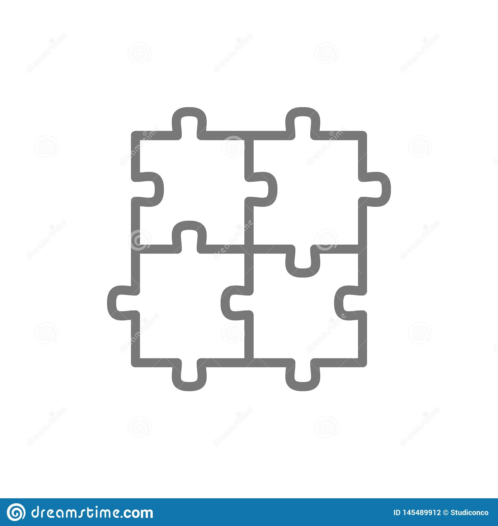 Puzzle, jigsaw, square, integrity, problem solving line icon.