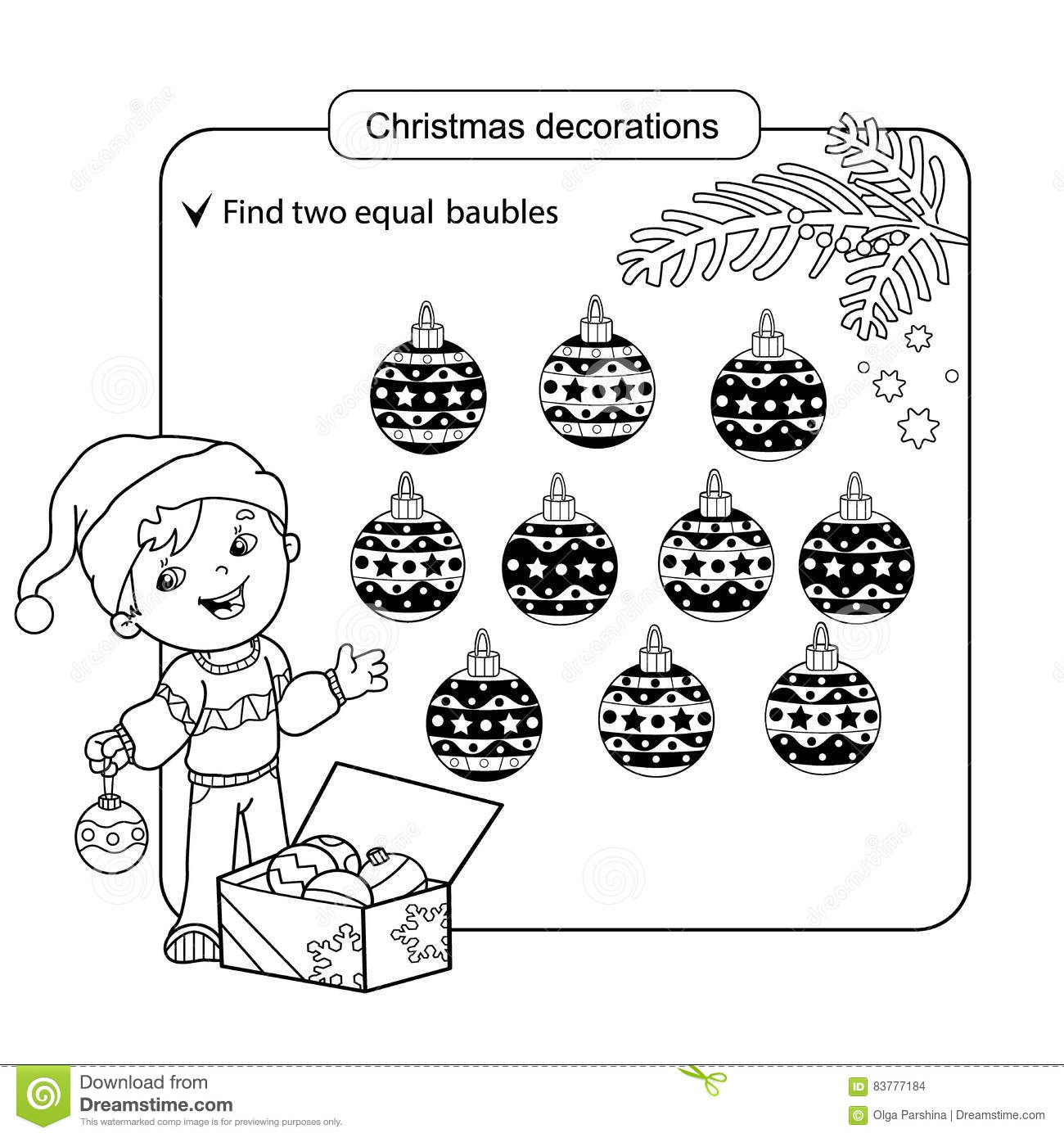 Assorted Things To Find The Match Christmas Balls Set Coloring Page For Children