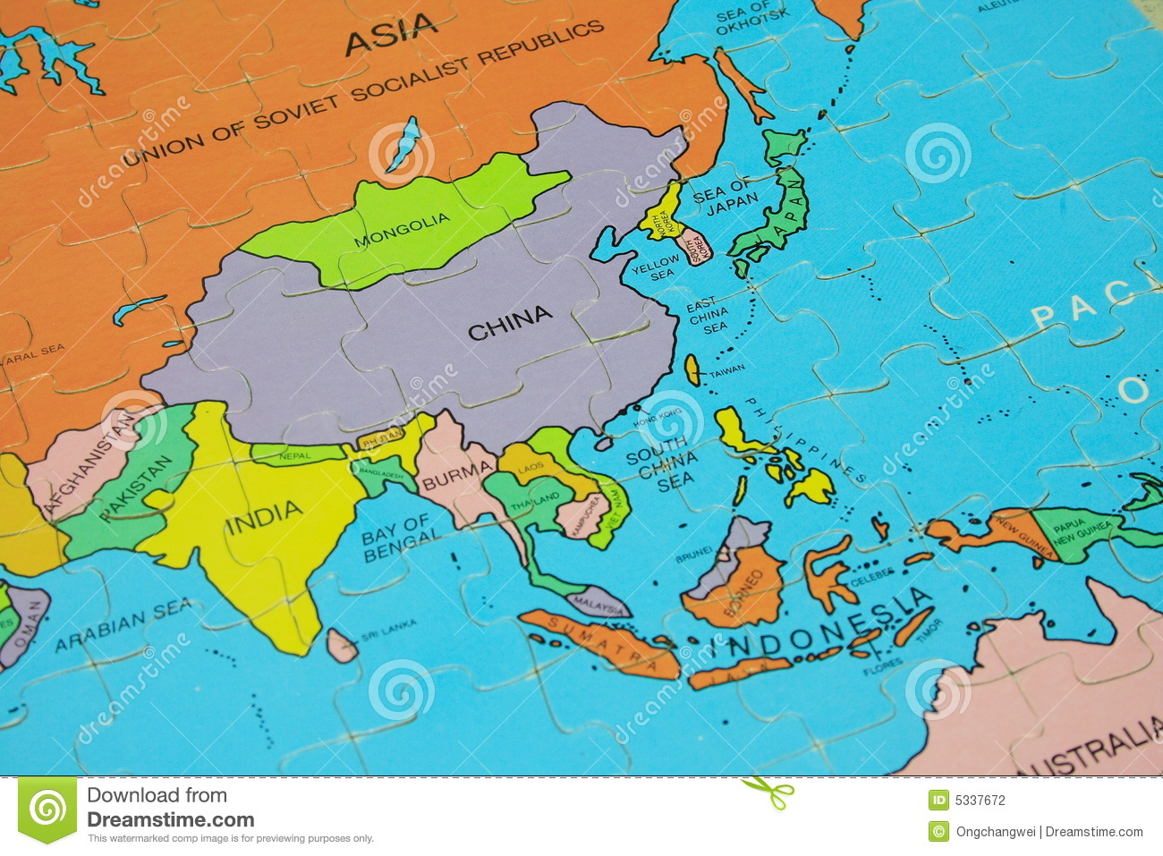 Global Map Of Asia.Puzzle Map Asia Stock Photo Image Of Indonesia Nation 5337672