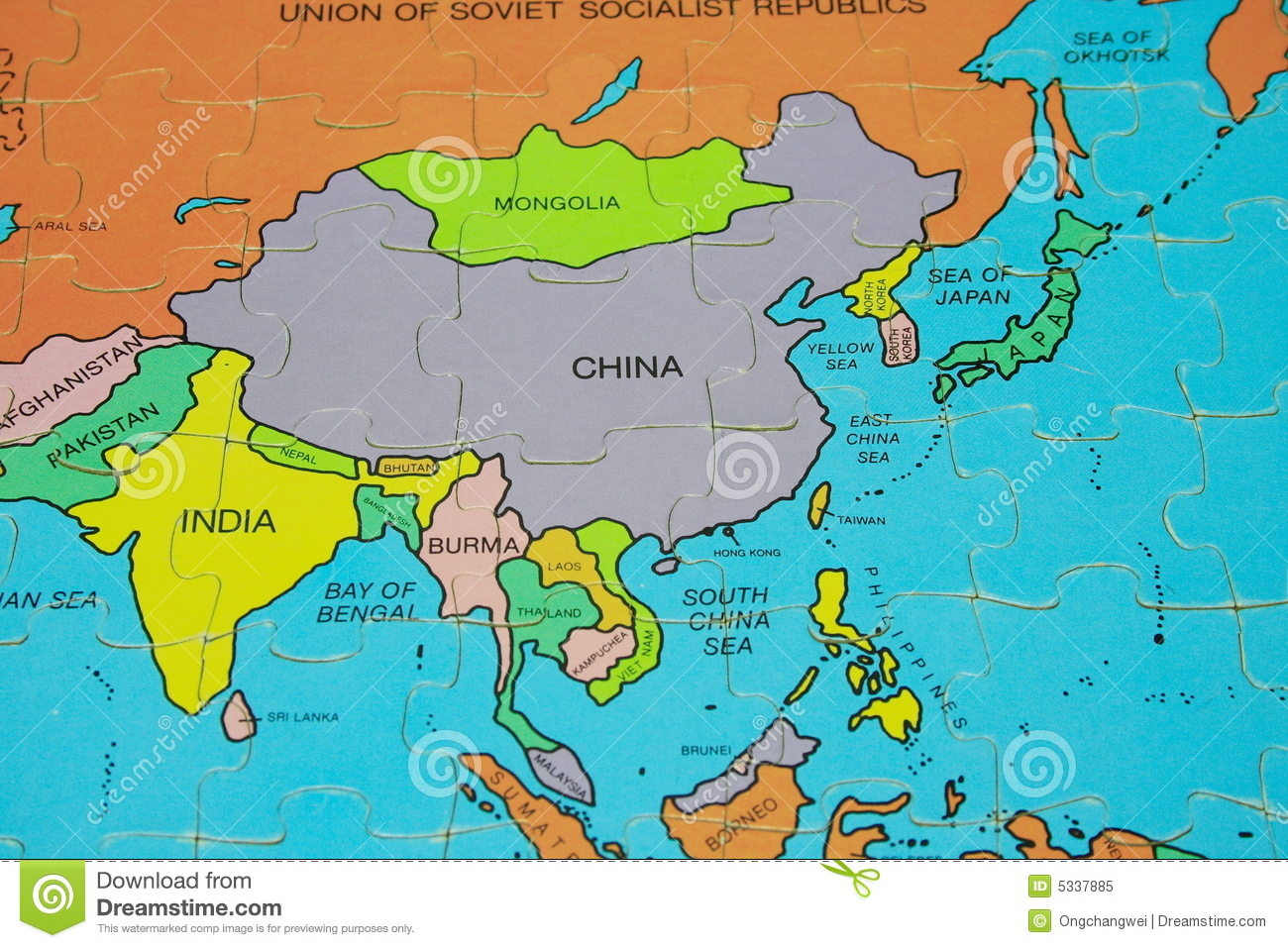 Global Map Of Asia.Puzzle Map Asia Stock Image Image Of Global Puzzle 5337885