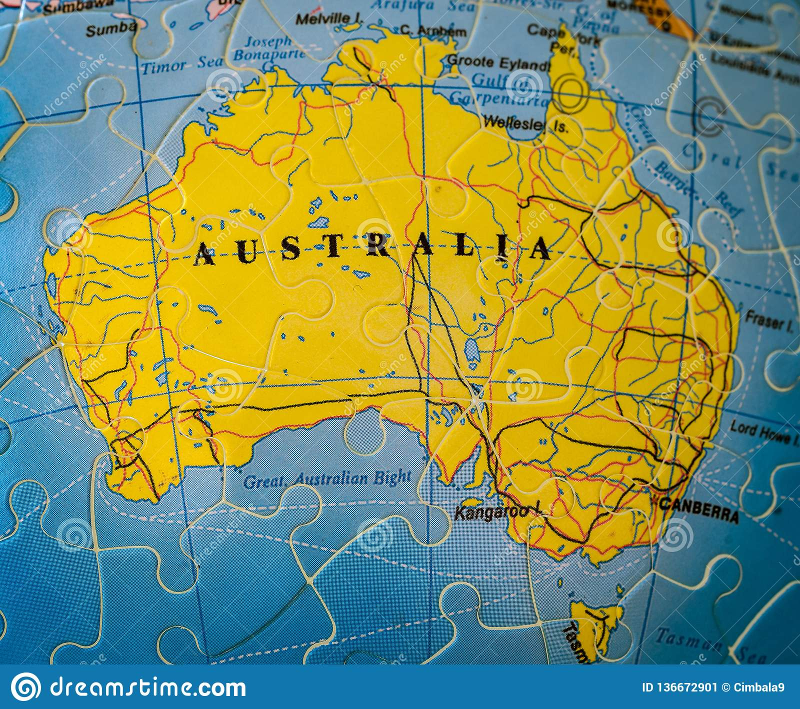 Map Of Australia And Tasmania.Puzzle Map Of Australia Including Tasmania Stock Image Image Of
