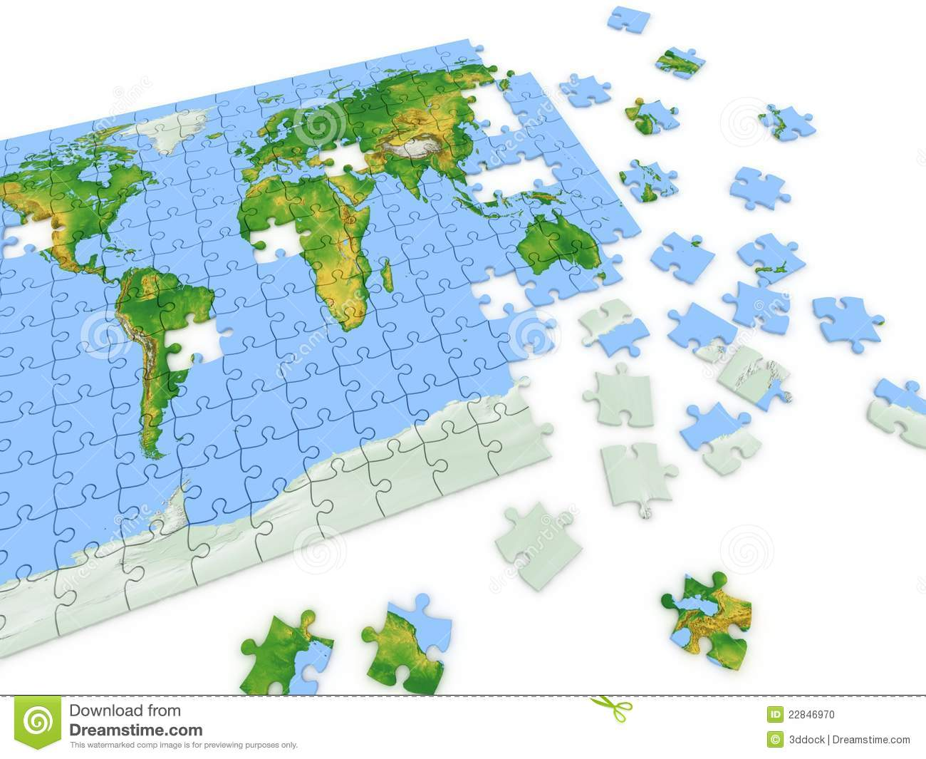 Puzzle Map Of The World Stock Photo Image 22846970