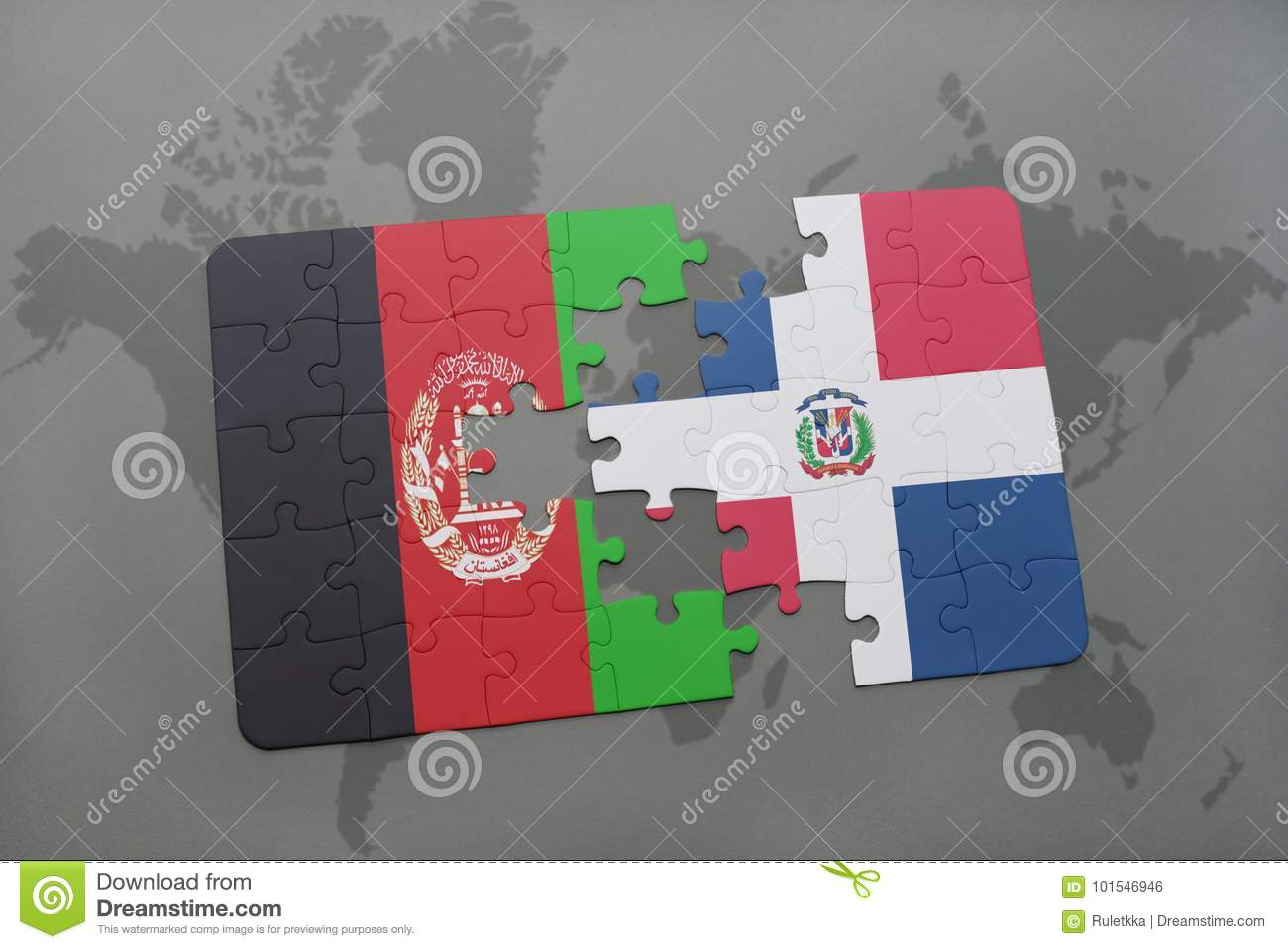 Where Is The Dominican Republic On A World Map.Puzzle With The National Flag Of Afghanistan And Dominican Republic