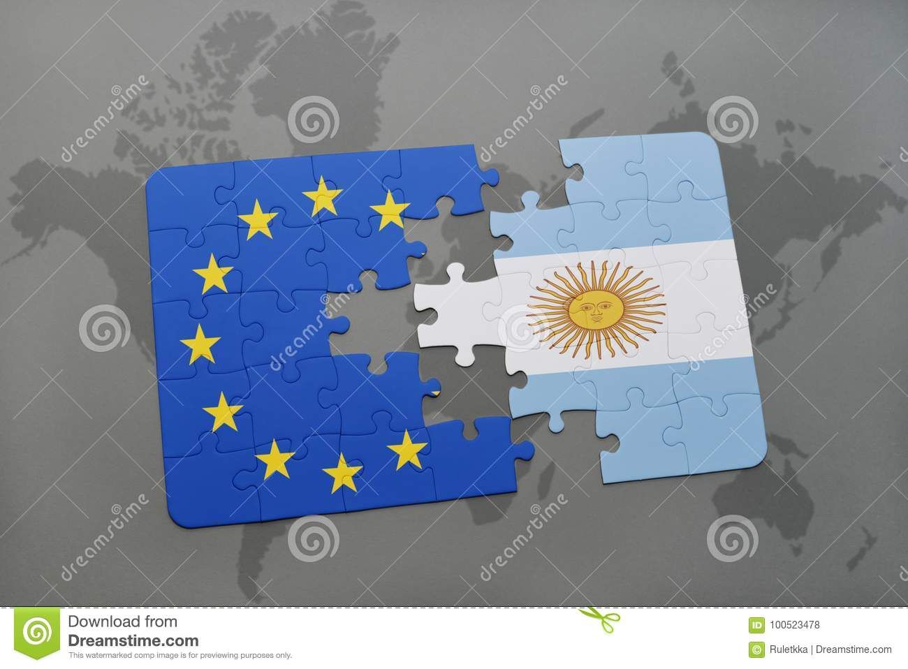 Puzzle With The National Flag Of Argentina And European ...