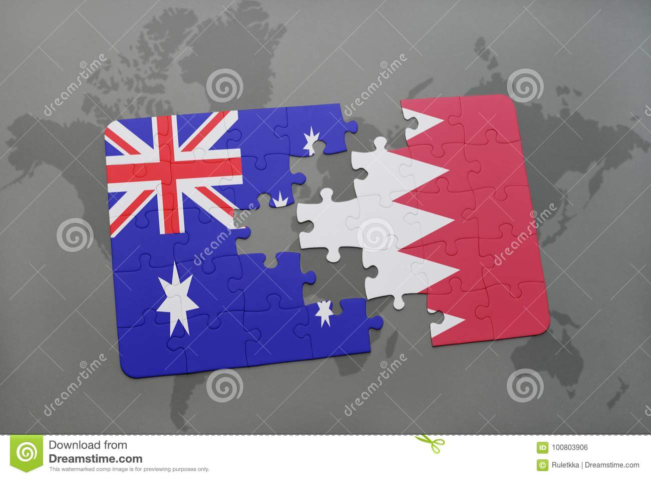 Bahrain On A World Map.Puzzle With The National Flag Of Australia And Bahrain On A World
