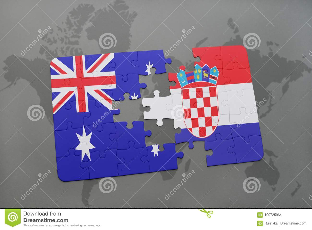 Puzzle with the national flag of australia and croatia on a world royalty free stock photo gumiabroncs Choice Image