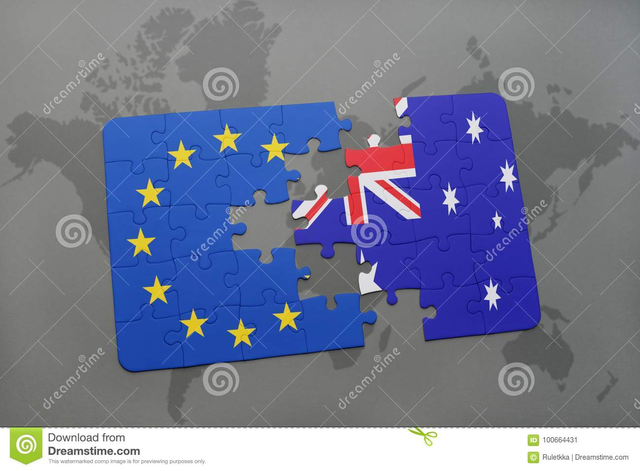 Puzzle with the national flag of australia and european union on a royalty free stock photo gumiabroncs Images