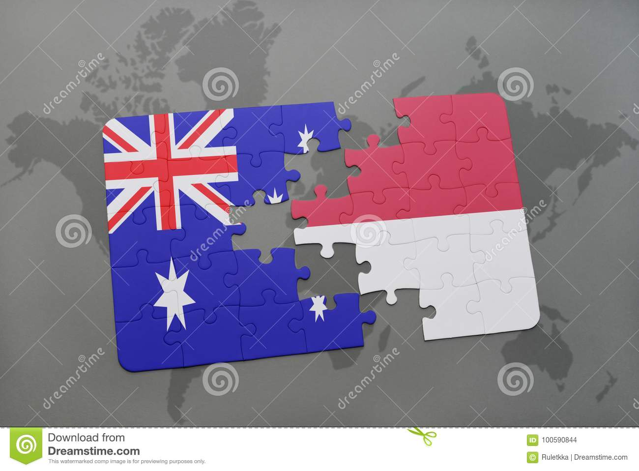 puzzle with the national flag of australia and indonesia on a world map background.