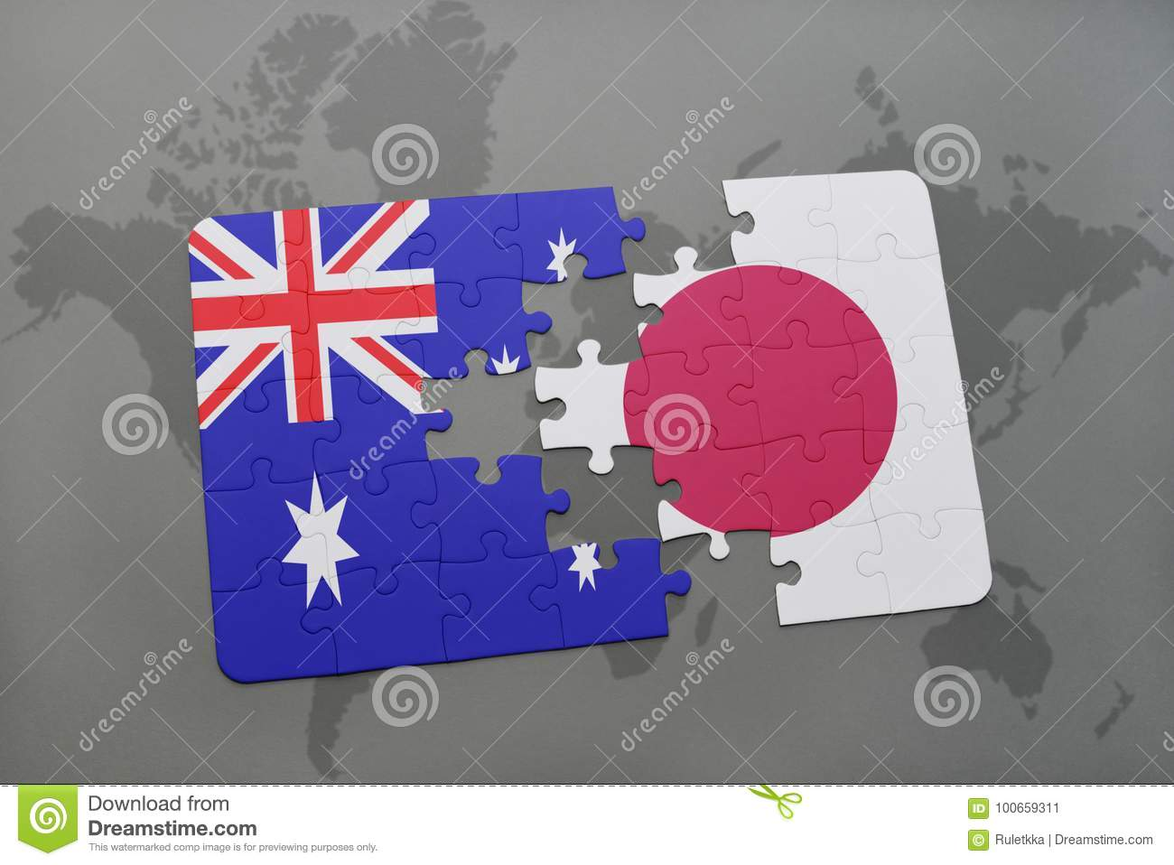 Puzzle with the national flag of australia and japan on a world map download puzzle with the national flag of australia and japan on a world map background gumiabroncs Gallery
