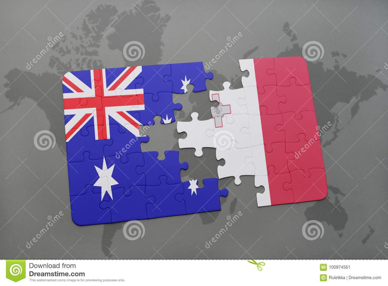 Puzzle With The National Flag Of Australia And Malta On A World Map ...