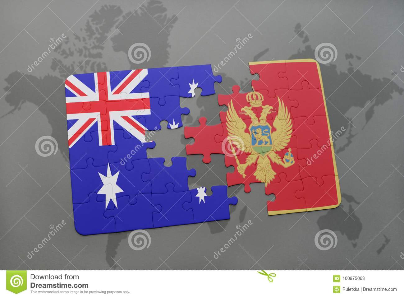 Puzzle with the national flag of australia and montenegro on a world download comp gumiabroncs Images