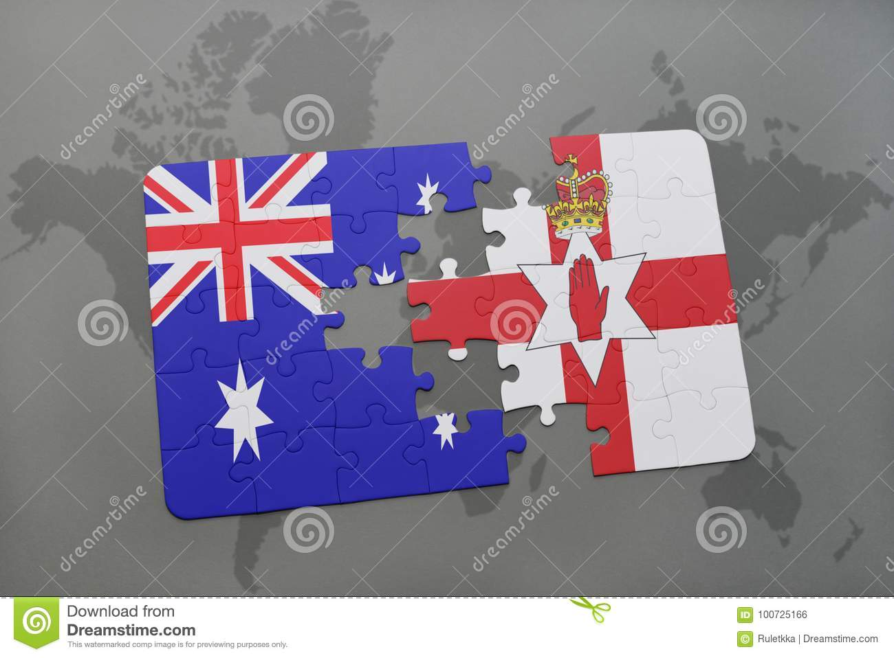 Australia Map Jigsaw.Puzzle With The National Flag Of Australia And Northern Ireland On A