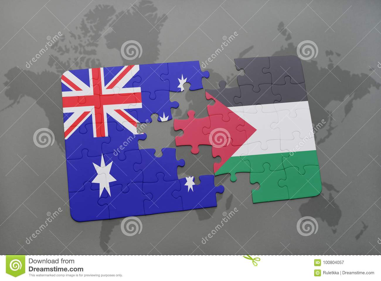 Map Of Australia Jigsaw Puzzle.Puzzle With The National Flag Of Australia And Palestine On A World