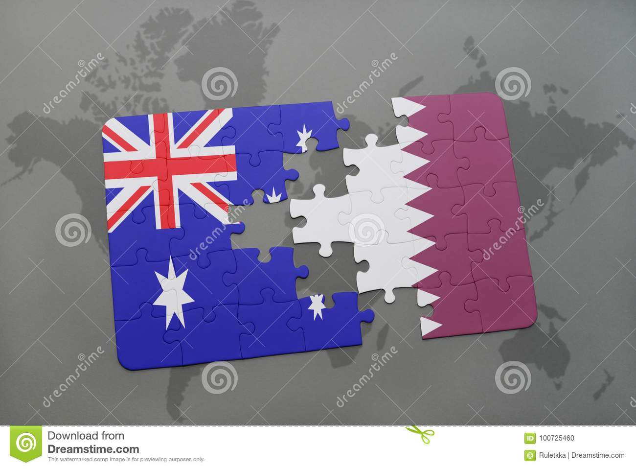 Puzzle With The National Flag Of Australia And Qatar On A World Map on