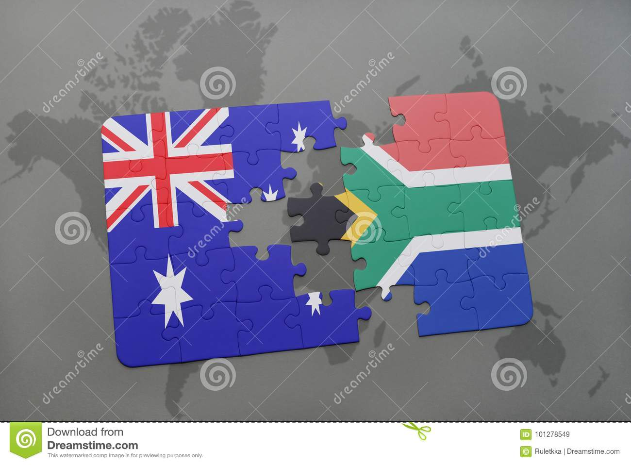Australia Map Jigsaw.Puzzle With The National Flag Of Australia And South Africa On A