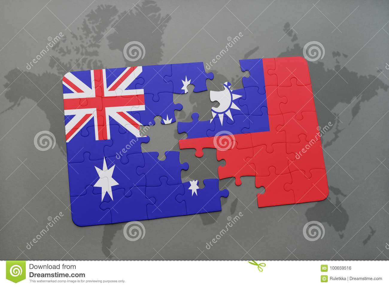 Taiwan On A World Map.Puzzle With The National Flag Of Australia And Taiwan On A World Map