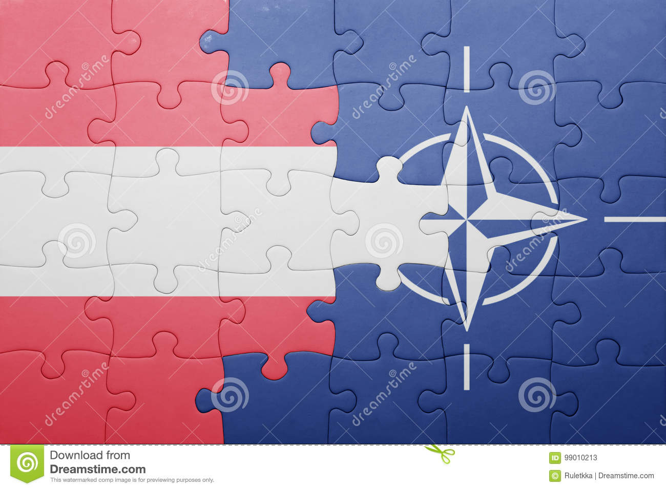 Puzzle With The National Flag Of Austria And Nato Stock Image