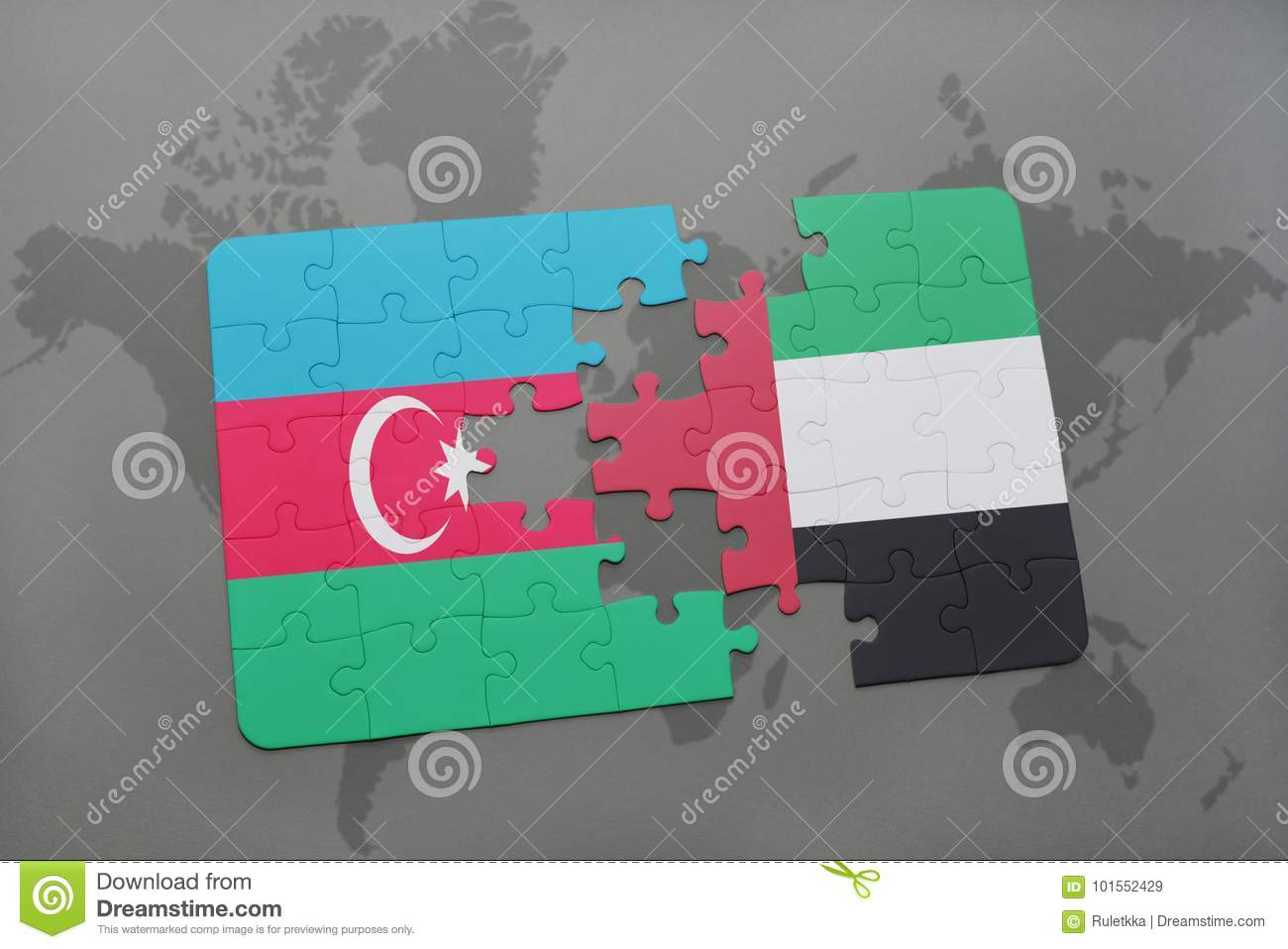 Puzzle With The National Flag Of Azerbaijan And United Arab Emirates ...