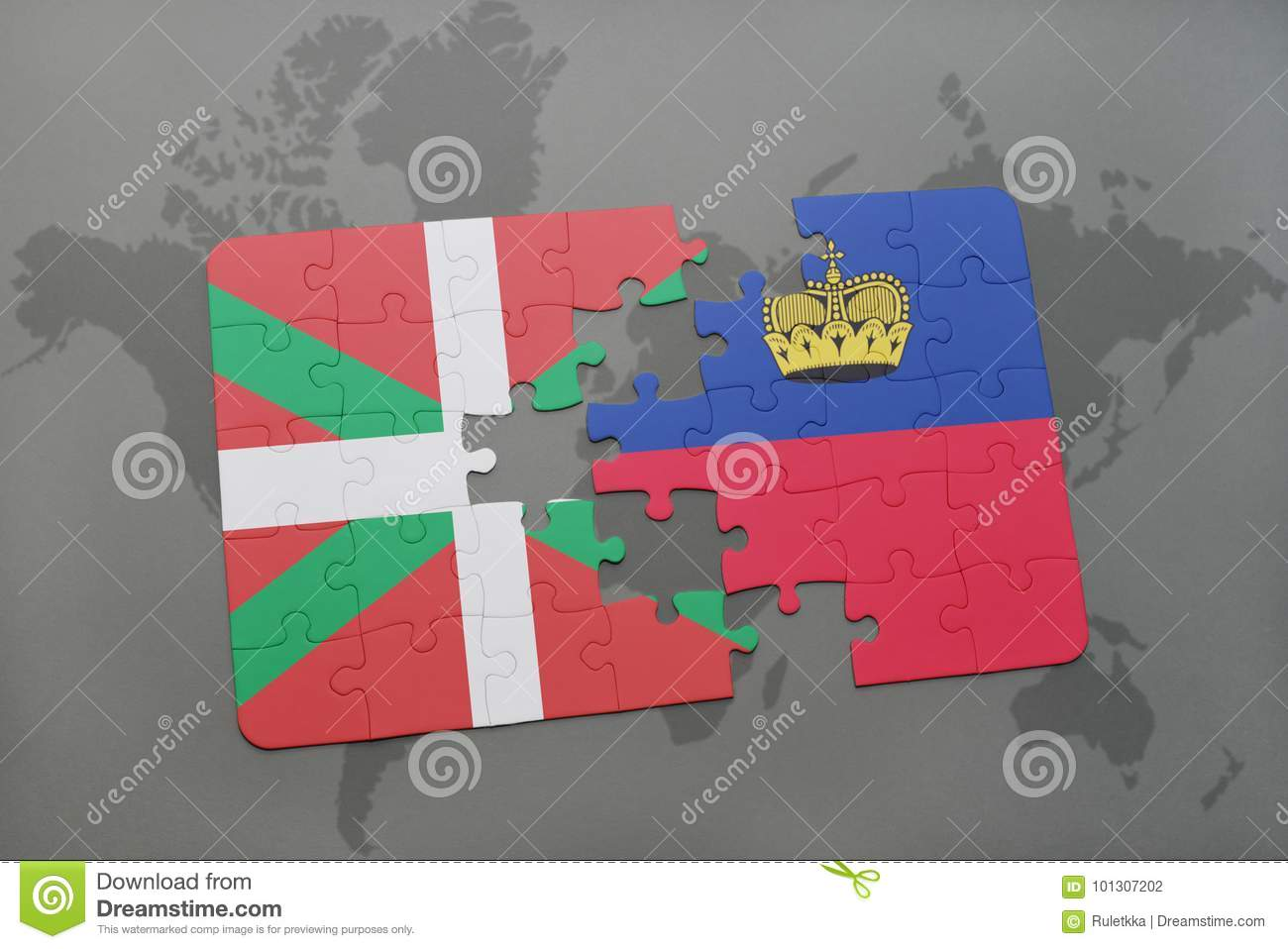Puzzle With The National Flag Of Basque Country And Liechtenstein On