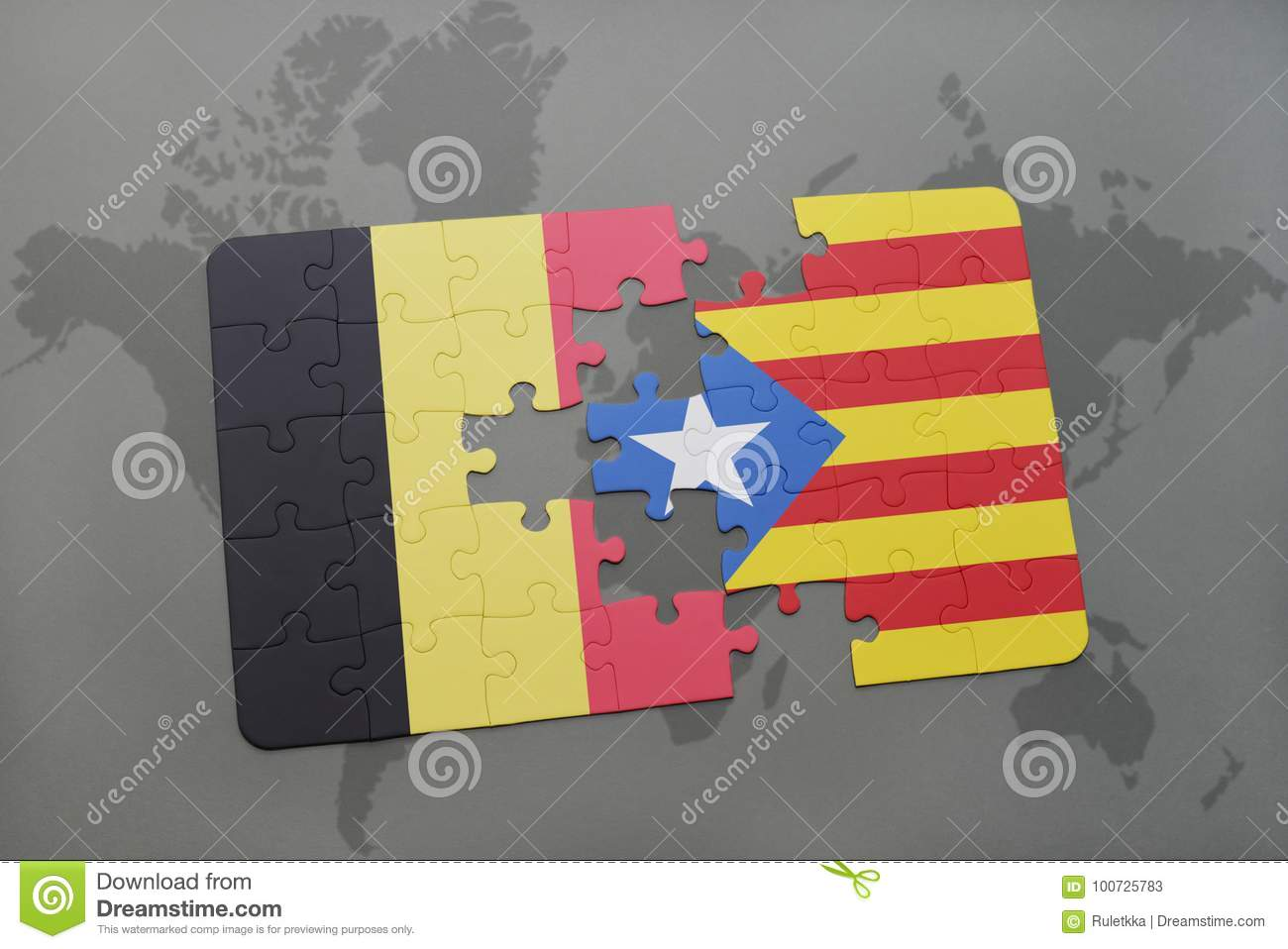 Puzzle with the national flag of belgium and catalonia on a world royalty free stock photo gumiabroncs Choice Image