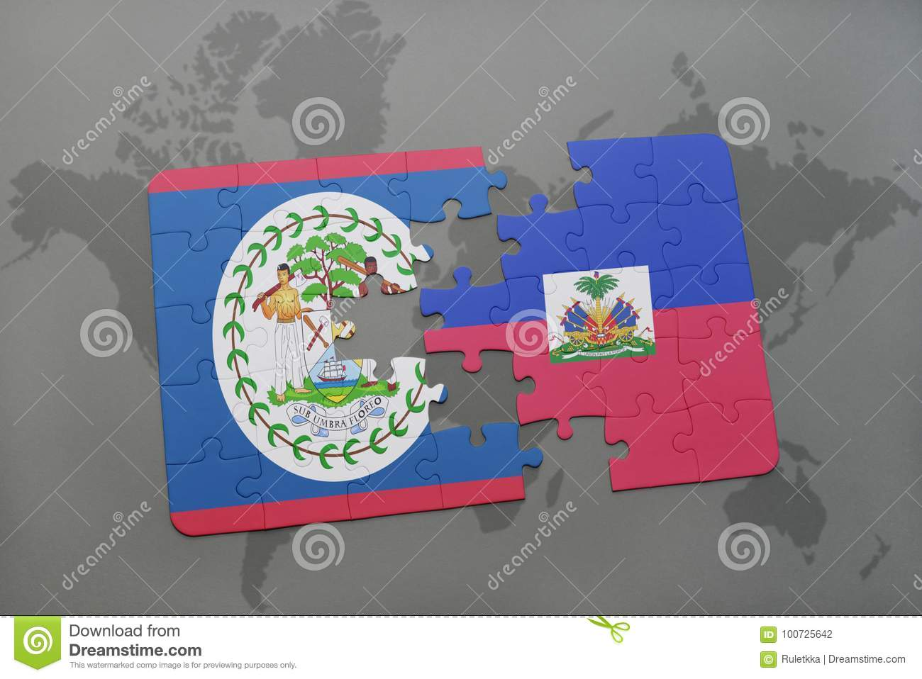 Puzzle with the national flag of belize and haiti on a world map puzzle with the national flag of belize and haiti on a world map background 3d illustration gumiabroncs Choice Image