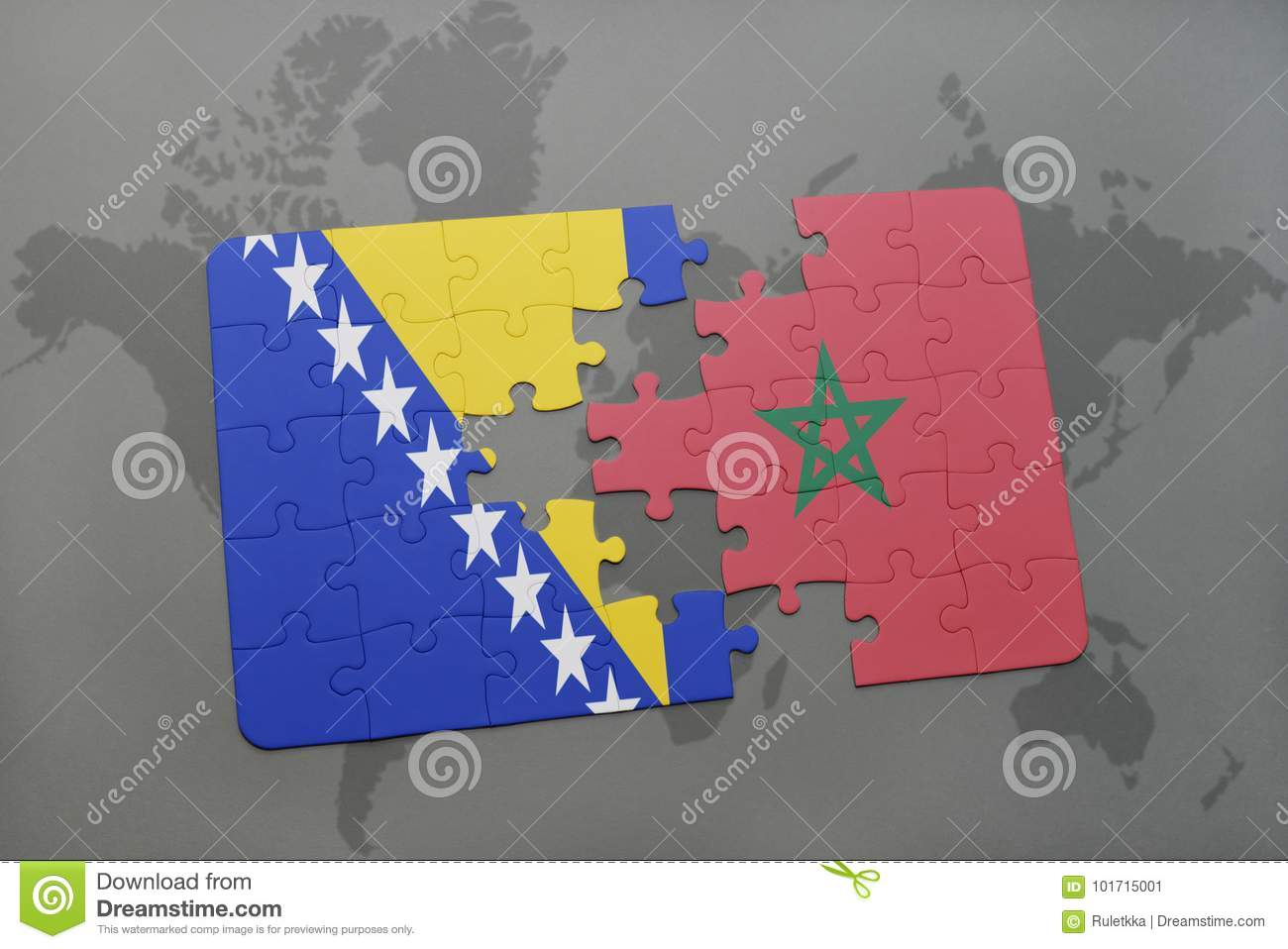 puzzle with the national flag of bosnia and herzegovina and morocco on a world map