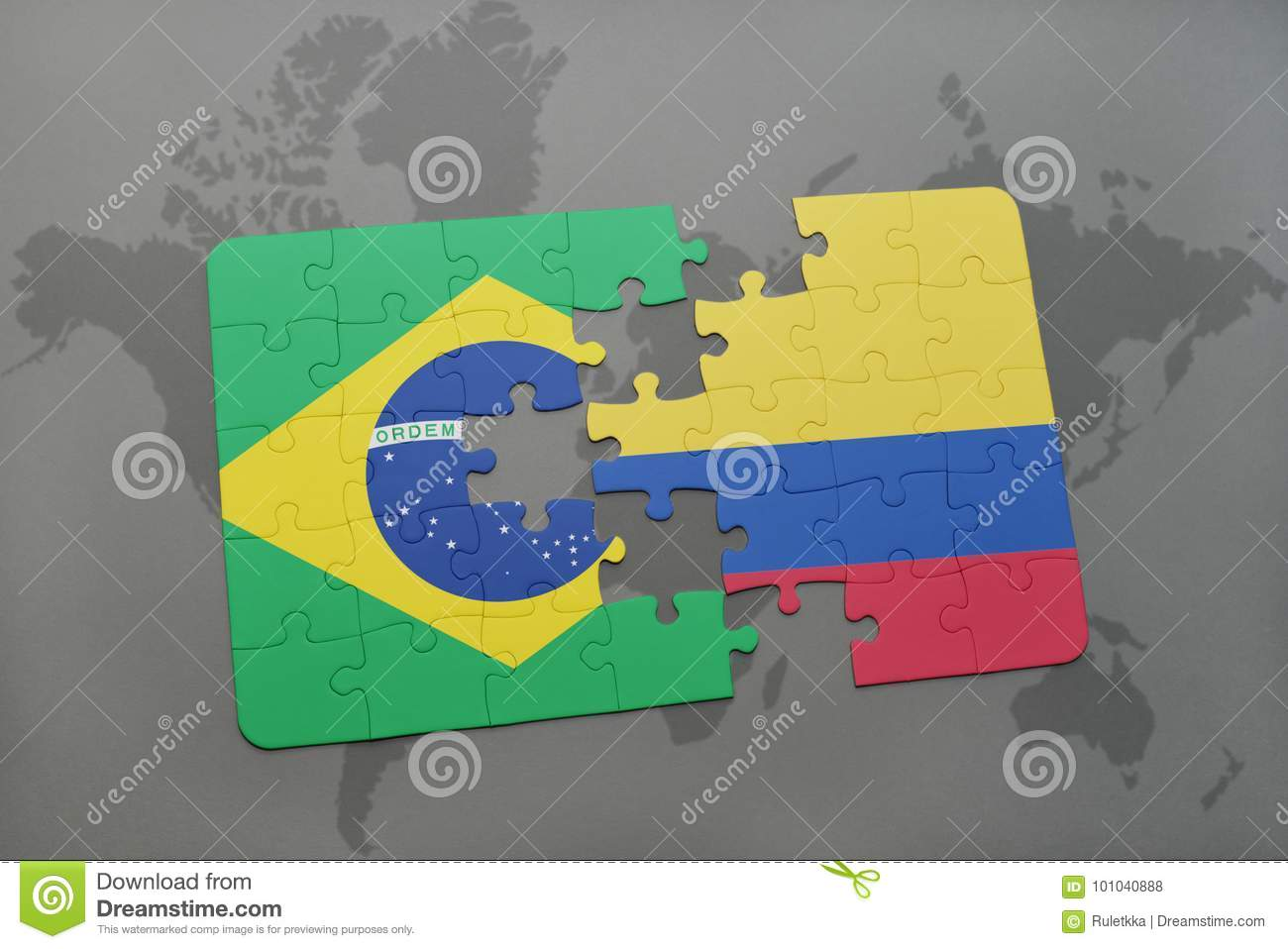 Picture of: Puzzle With The National Flag Of Brazil And Colombia On A World Map Background Stock Illustration Illustration Of Jack Brazil 101040888