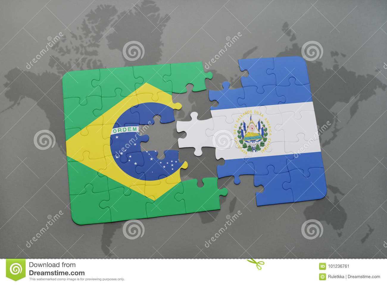 Puzzle With The National Flag Of Brazil And El Salvador On A World