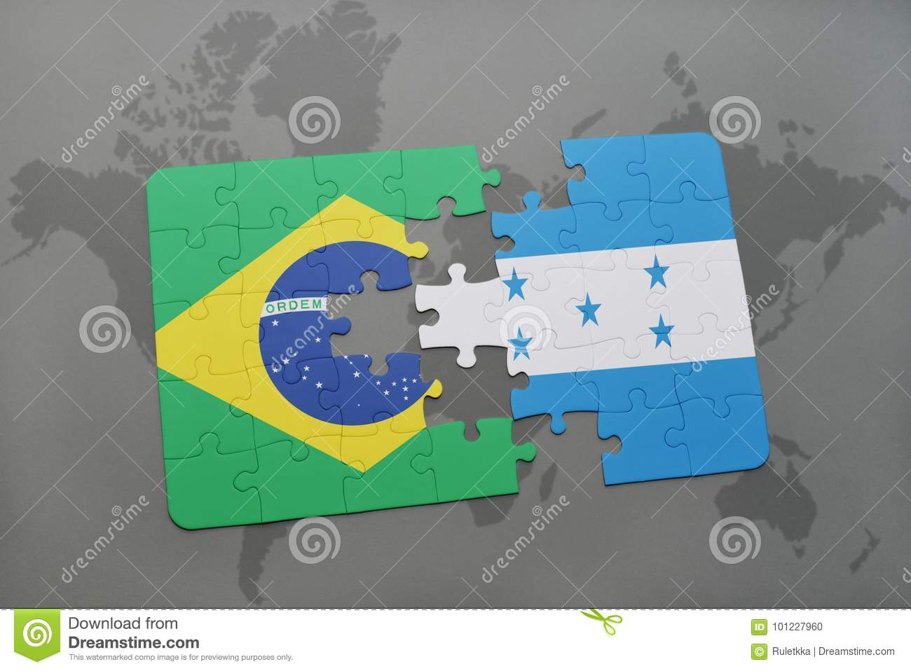 Puzzle With The National Flag Of Brazil And Honduras On A World Map