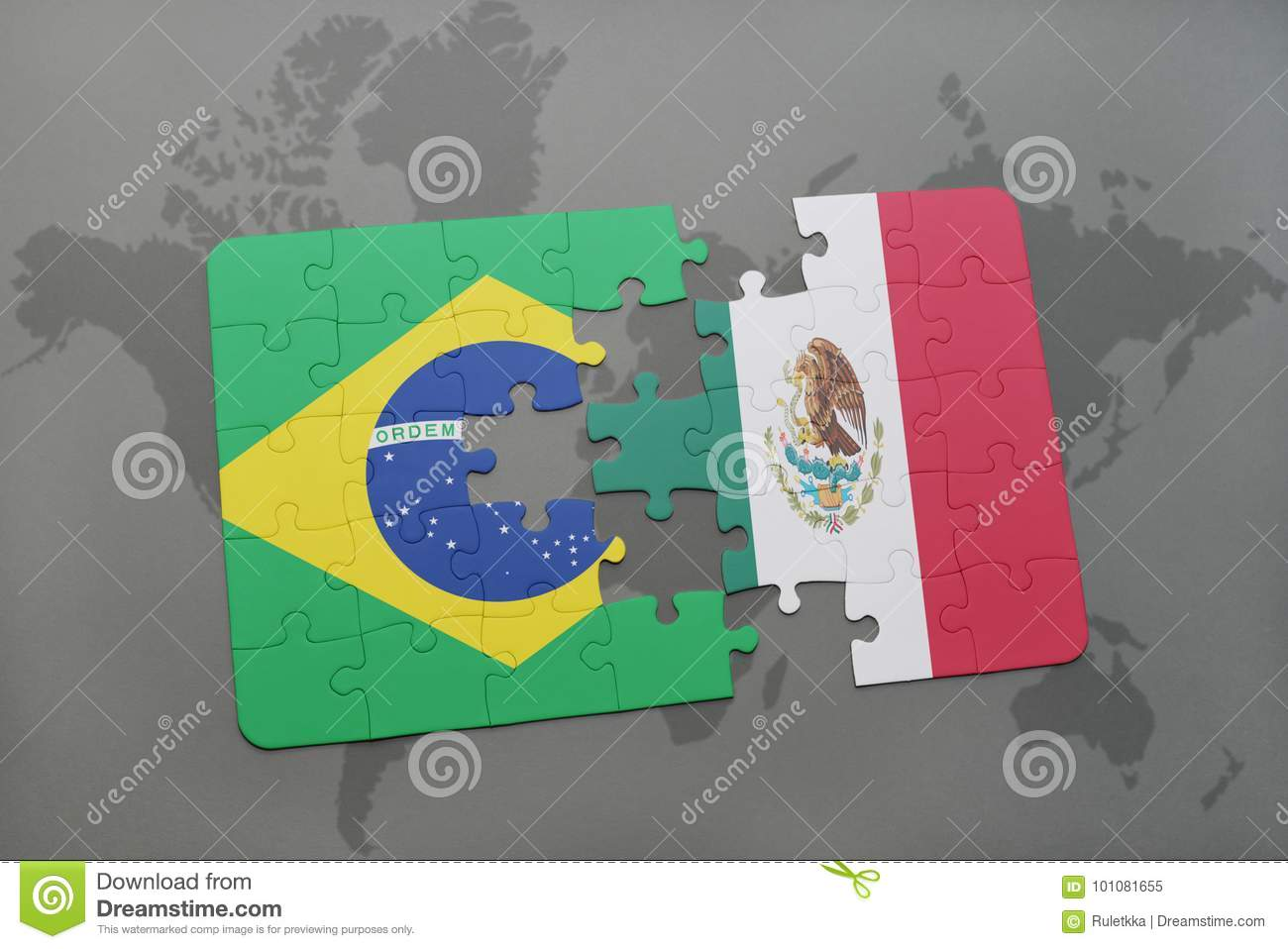 Puzzle with the national flag of brazil and mexico on a world map download puzzle with the national flag of brazil and mexico on a world map background gumiabroncs Choice Image