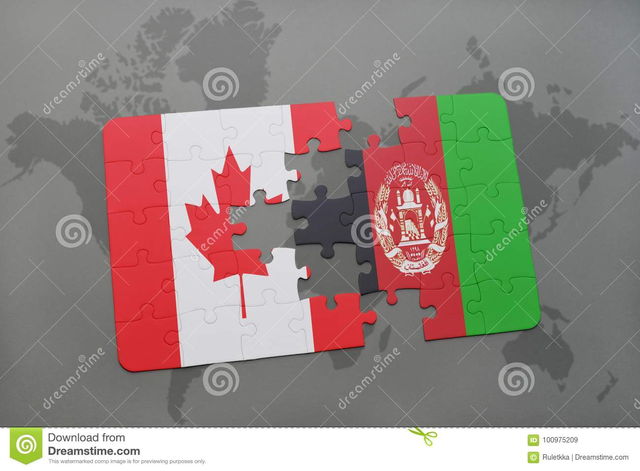 Puzzle with the national flag of canada and afghanistan on a world royalty free stock photo gumiabroncs Choice Image