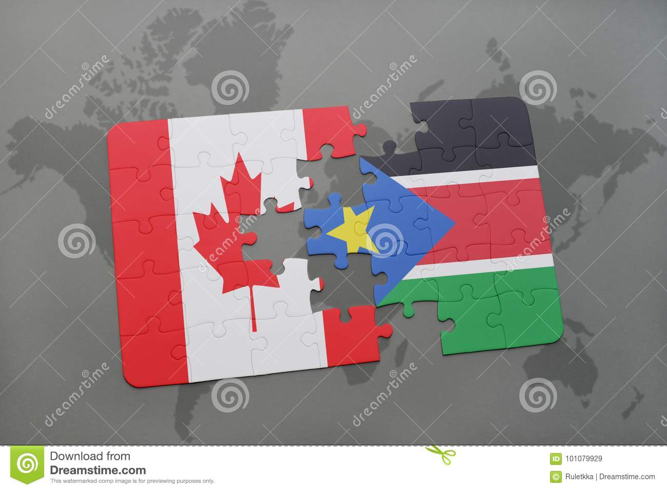 Puzzle with the national flag of canada and south sudan on a world download puzzle with the national flag of canada and south sudan on a world map background gumiabroncs Images