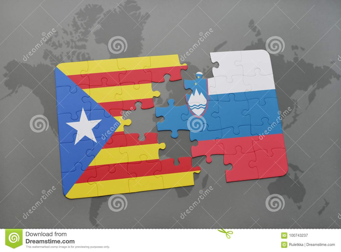 Puzzle with the national flag of catalonia and slovenia on a world download puzzle with the national flag of catalonia and slovenia on a world map background gumiabroncs Image collections