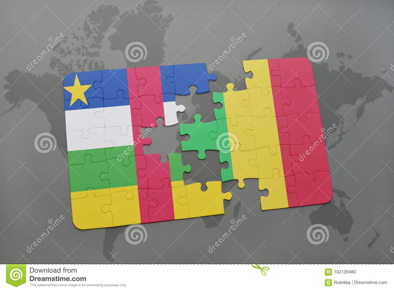 Puzzle with the national flag of central african republic and mali download puzzle with the national flag of central african republic and mali on a world map gumiabroncs Choice Image