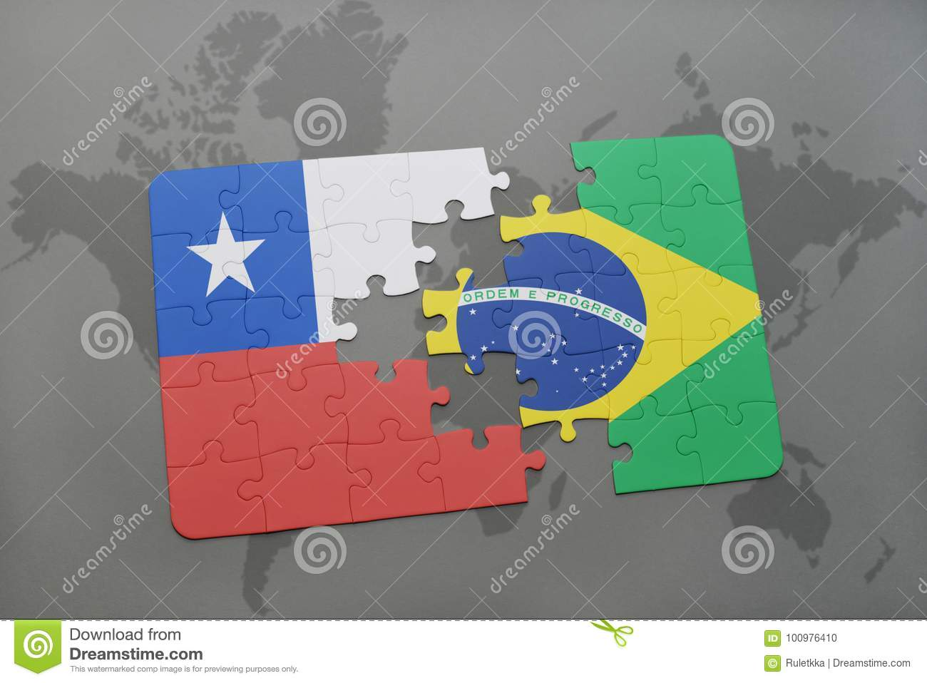 puzzle with the national flag of chile and brazil on a world map