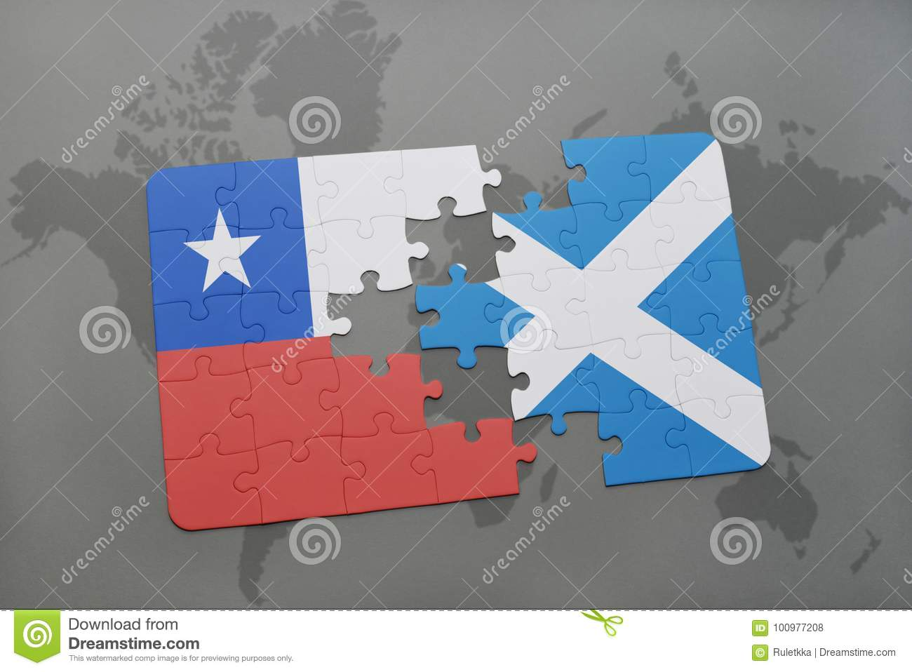Puzzle with the national flag of chile and scotland on a world map download puzzle with the national flag of chile and scotland on a world map background gumiabroncs Image collections