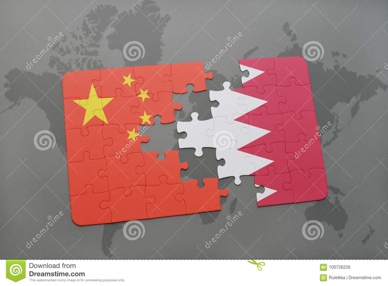 Puzzle with the national flag of china and bahrain on a world map puzzle with the national flag of china and bahrain on a world map background 3d illustration gumiabroncs Image collections